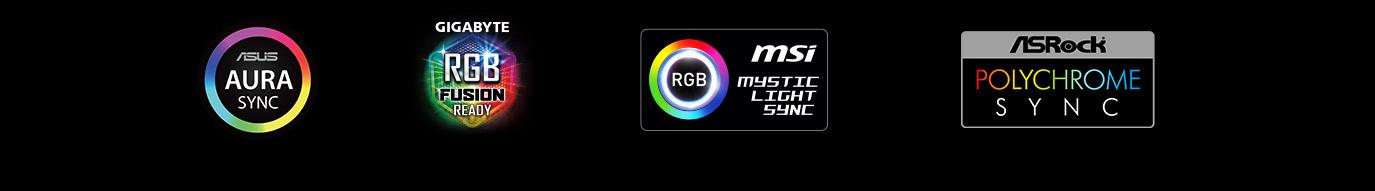 ASUS Aura Sync icon, Gigabyte RGB Fusion icon, MSI Mystic Light icon and ASRock Polychrome Sync icon