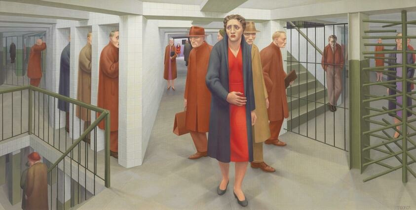George Tooker's The Subway, 1950, depicts a woman nervously navigating a subway station. Behind her, the hallway stretches out, and men gaze in every direction.