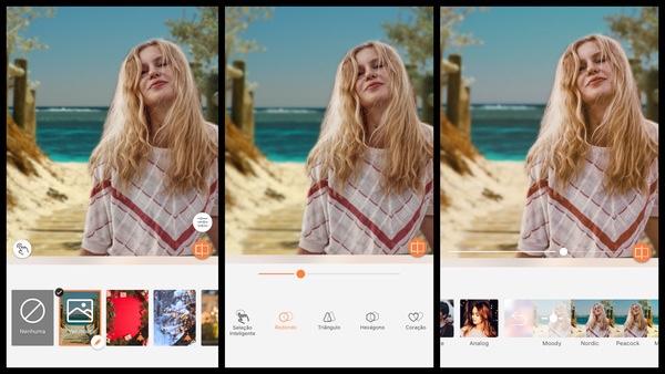 foto de uma mulher loira na praia sendo editada pelo AirBrush