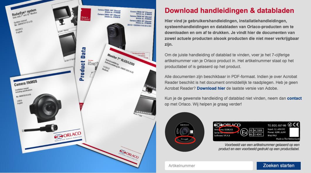 Visual van aanbod digitale handleidingen & databladen