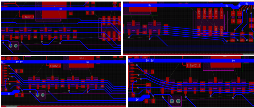 Sliding routed traces in a group. The upper-left picture presents quick and dirty routing, while the rest are examples of different options for arranging traces by sliding.