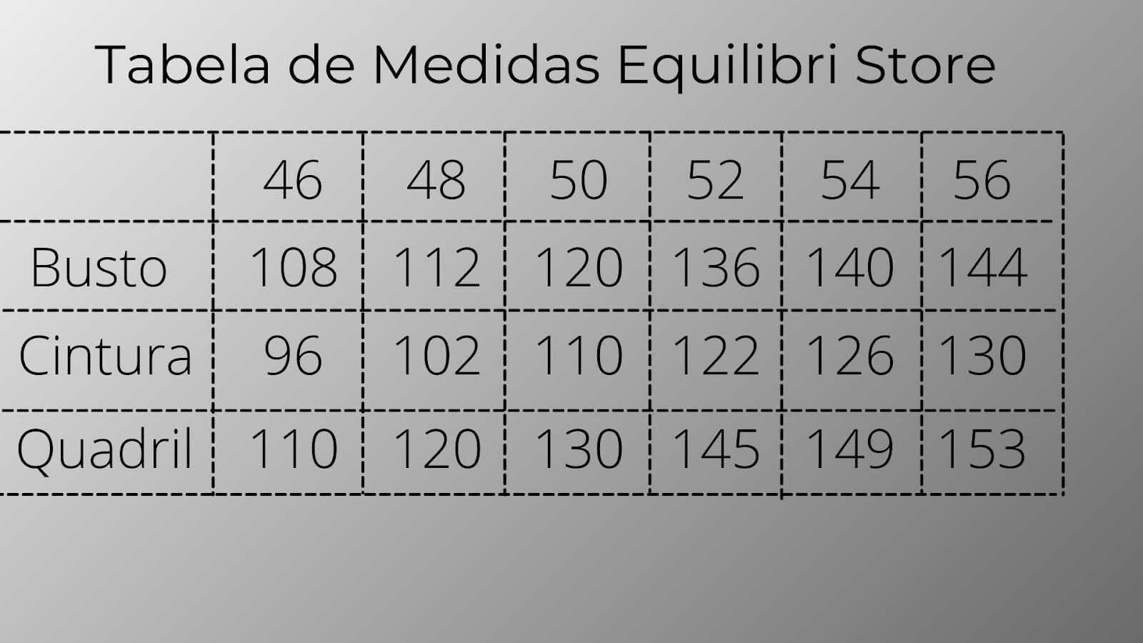 Tabela de medidas Equilibri Store