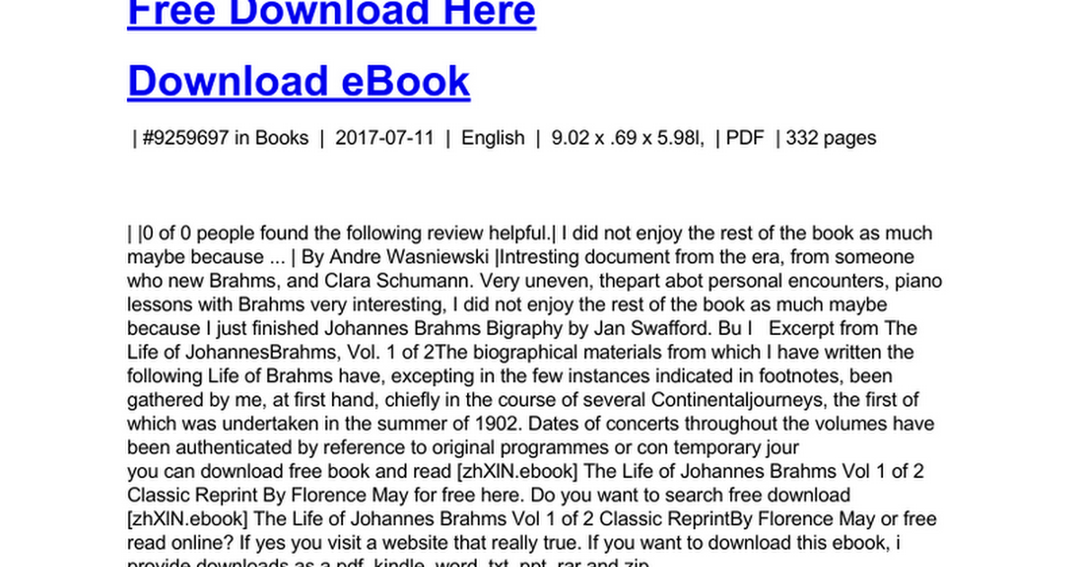 The life of johannes brahms vol 1 of 2 classic reprintc google docs fandeluxe