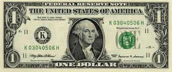 Descrição: Nota americana de um dólar