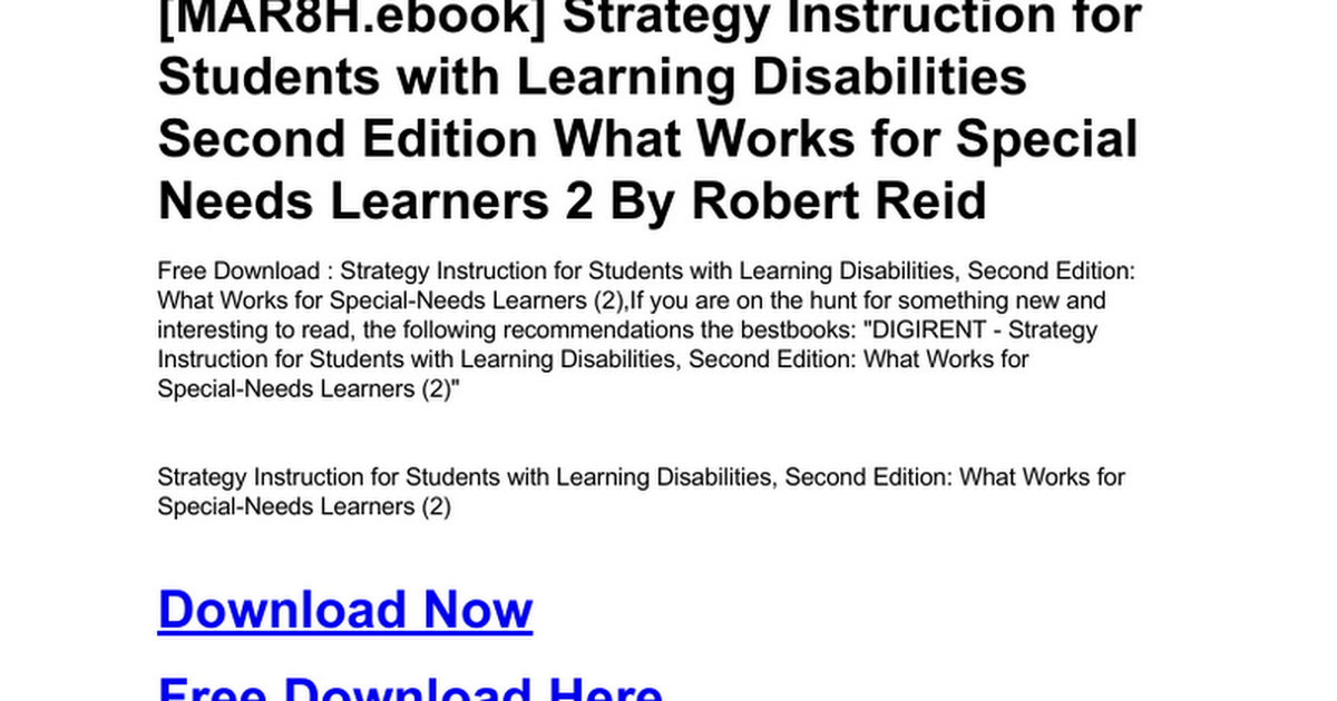Strategy Instruction For Students With Learning Disabilities Second