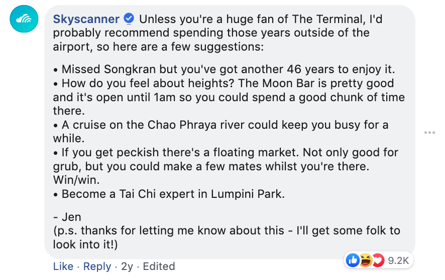 Skyscanner replying to a facebook customer complaint about a long layover