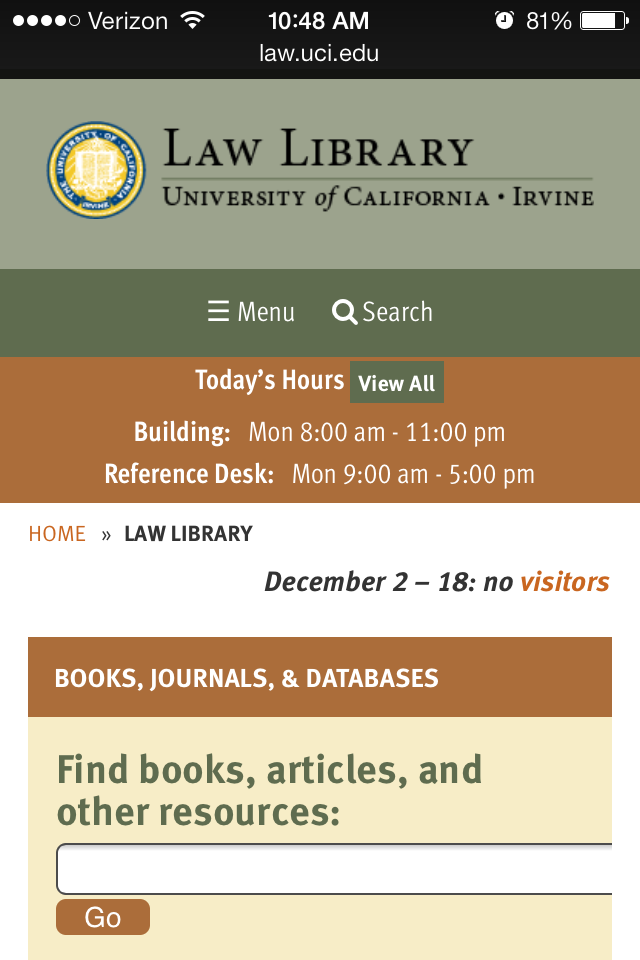 Mobile Responsive Websites for Libraries Example of UC Irvine Law Library