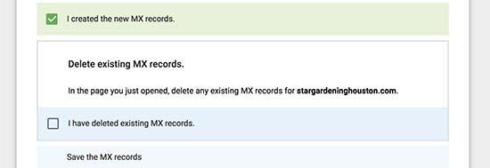Bản ghi MX được tạo