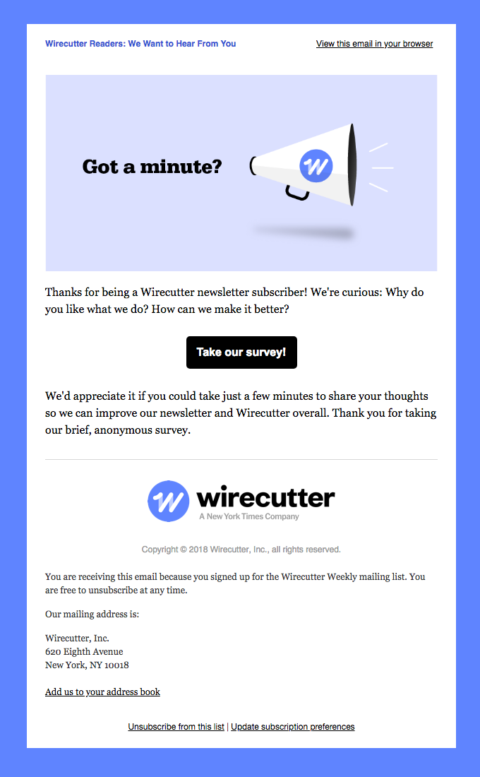 wirecutter short survey example