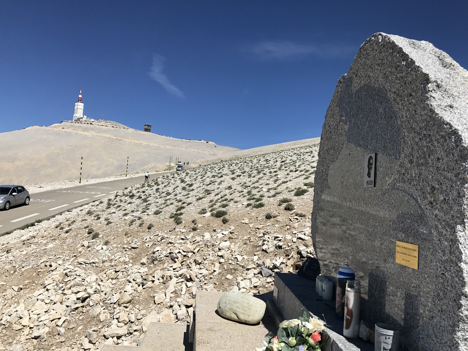 Cycling Mont Ventoux - Tom Simpson Memorial - radio tower in background