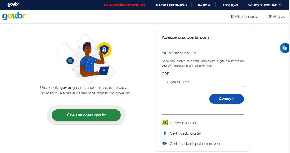 Cadastro de CPF no site do Governo.