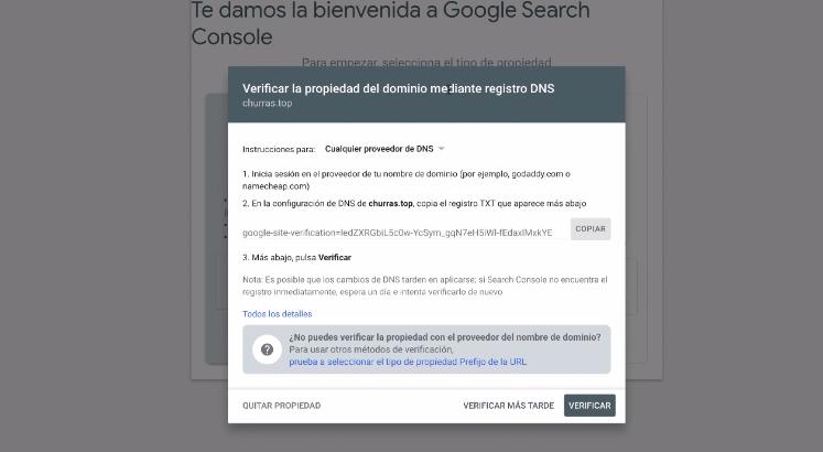 verificando propriedade no search console