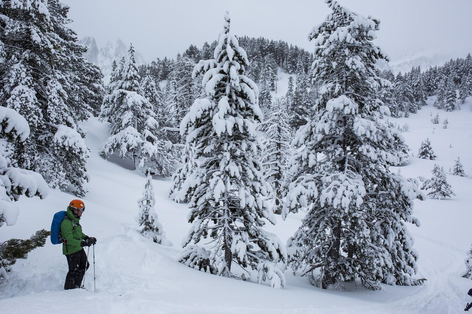 Esquiador a Espot després d'una gran nevada