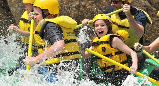 children white water rafting near Denver, CO