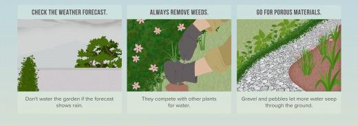 To save water in your garden; pull weeds, use stone and check the weather