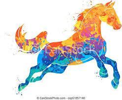 Astratto, galloping, cavallo. Watercolors., galloping, vettore, cavallo,  illustrazione, paints., astratto, schizzo. | CanStock