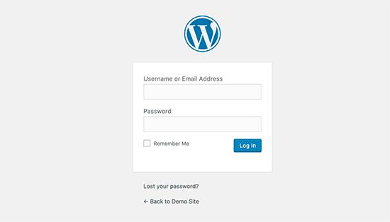 WordPress login page
