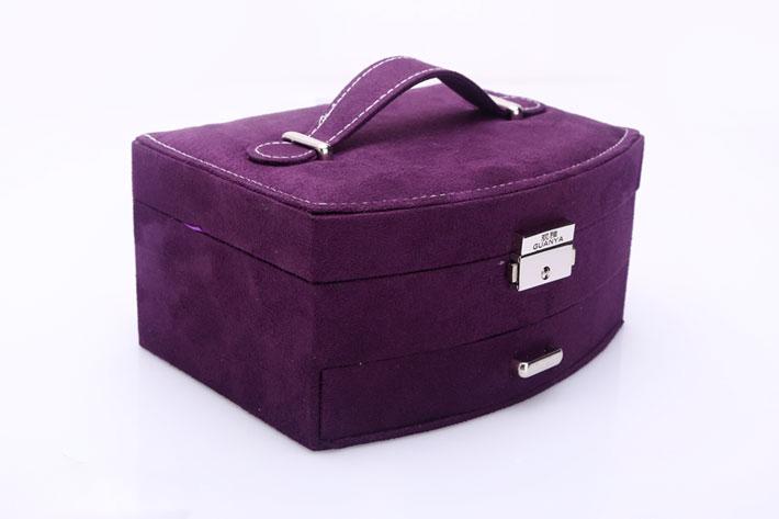 hộp đựng trang sức 2 tầng vòng cung màu tím