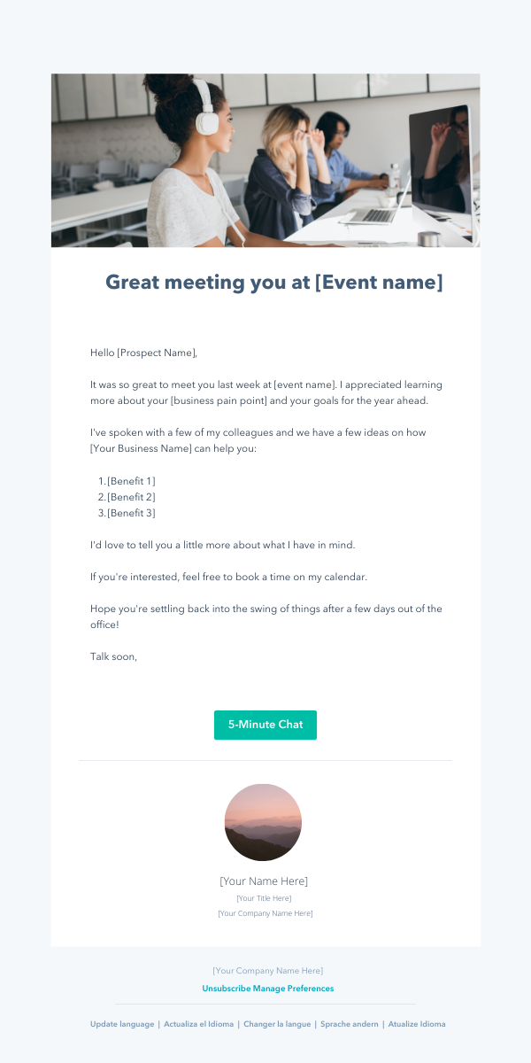 event following prospecting email template
