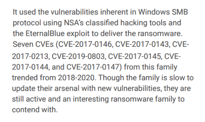Ransomware Spotlight Report 2021 Call out SMB protocol using NSA vulnerabilities