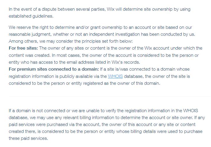 Wix Copyright Terms