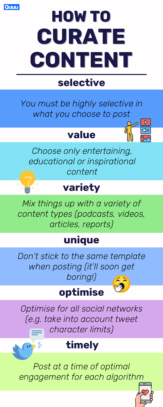How to curate content effectively in your content strategy:Be selectiveChoose valuable contentMix it upBe uniqueOptimize for all social networksMake it timely