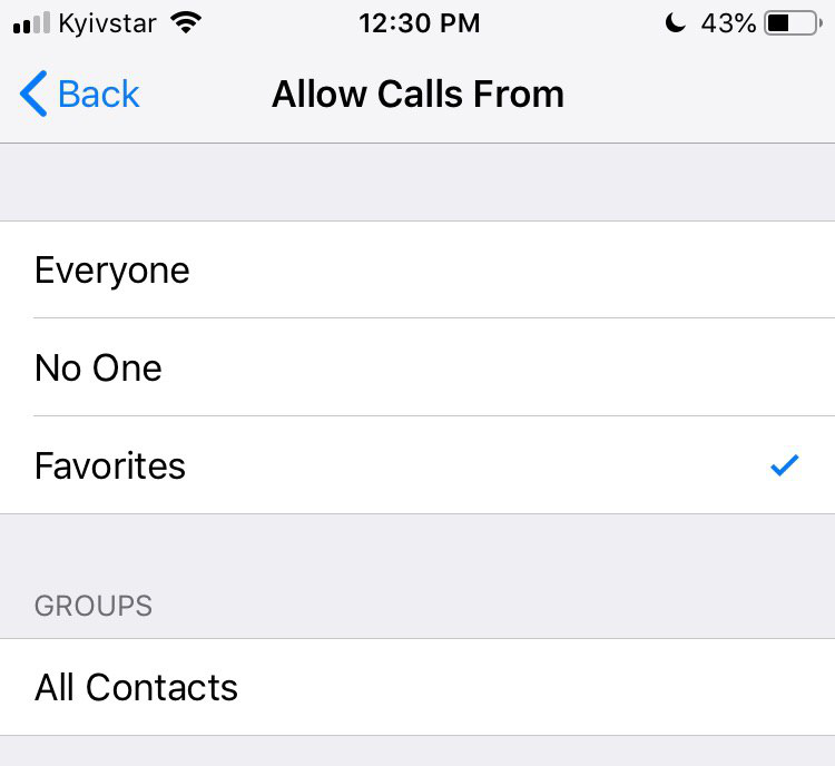"the ""Allow Calls From"" function - Favorites"
