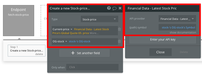 Fetching the latest stock price using Bubble's no-code API editor toolset
