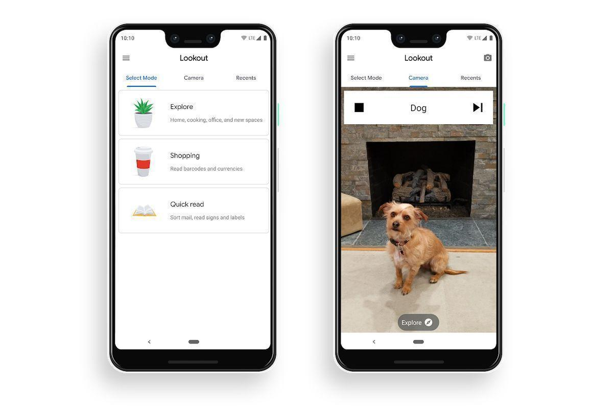 An example of Google's Lookout app at work, showing a screenshot of a smartphone taking a picture of a dog, and the software recognizing the object correctly as a dog.