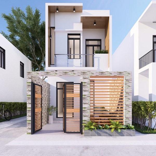 Mặt tiền nhà 2 tầng sử dụng màu sắc có sự kết hợp uyển chuyển, tinh tế