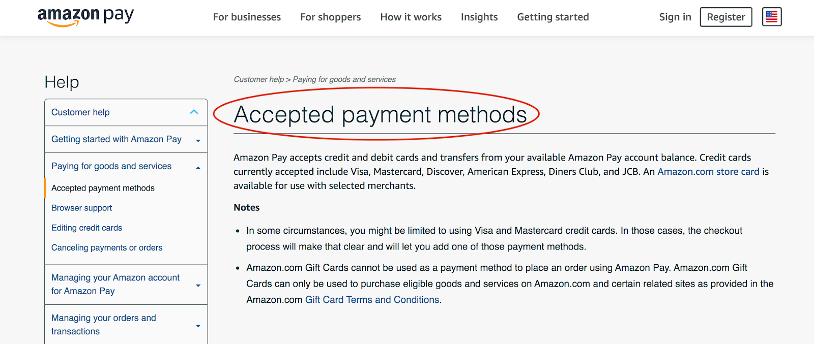 Screenshot showing the simple and effective design that Amazon's online store has.