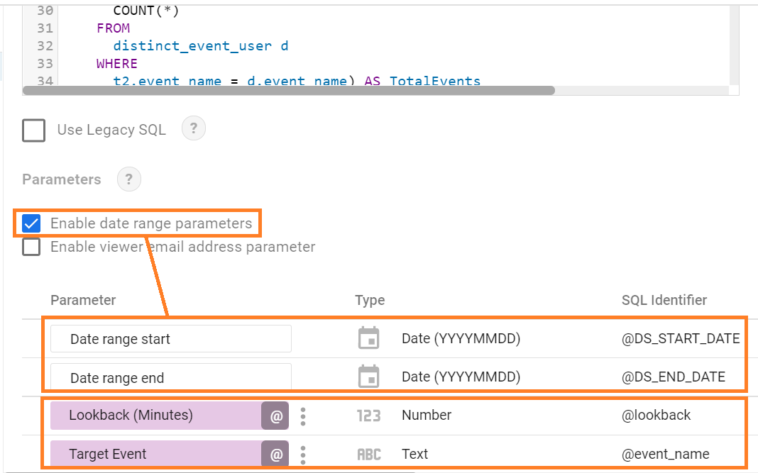 how to enable date range parameters in Google Data Studio using BigQuery custom query data source