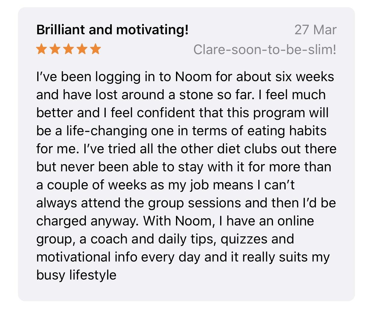 User review Noom app