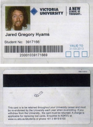 Tarjeta de estudiante de la Universidad de Victoria Jared Hyams '.