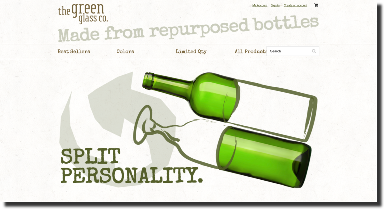 Green Glass glassware company website s
