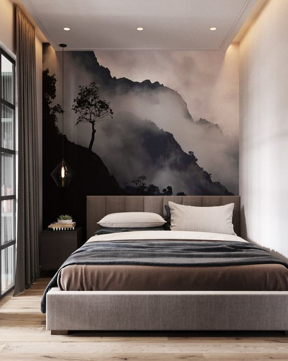 Watercolor Landscape Painting Behind the Headboard