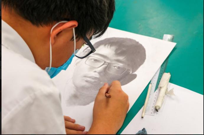 Student drawing Self Portrait