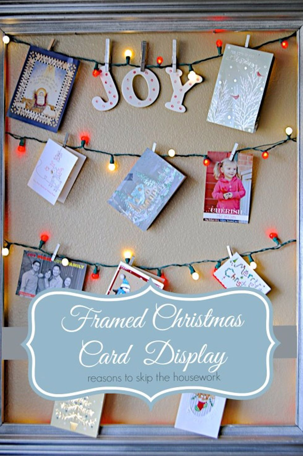 Holiday Card Board: These 25 DIY Christmas Card Holders - That Double As Festive Decor will allow you to beautifuly display your cards and will also give you some great decor.