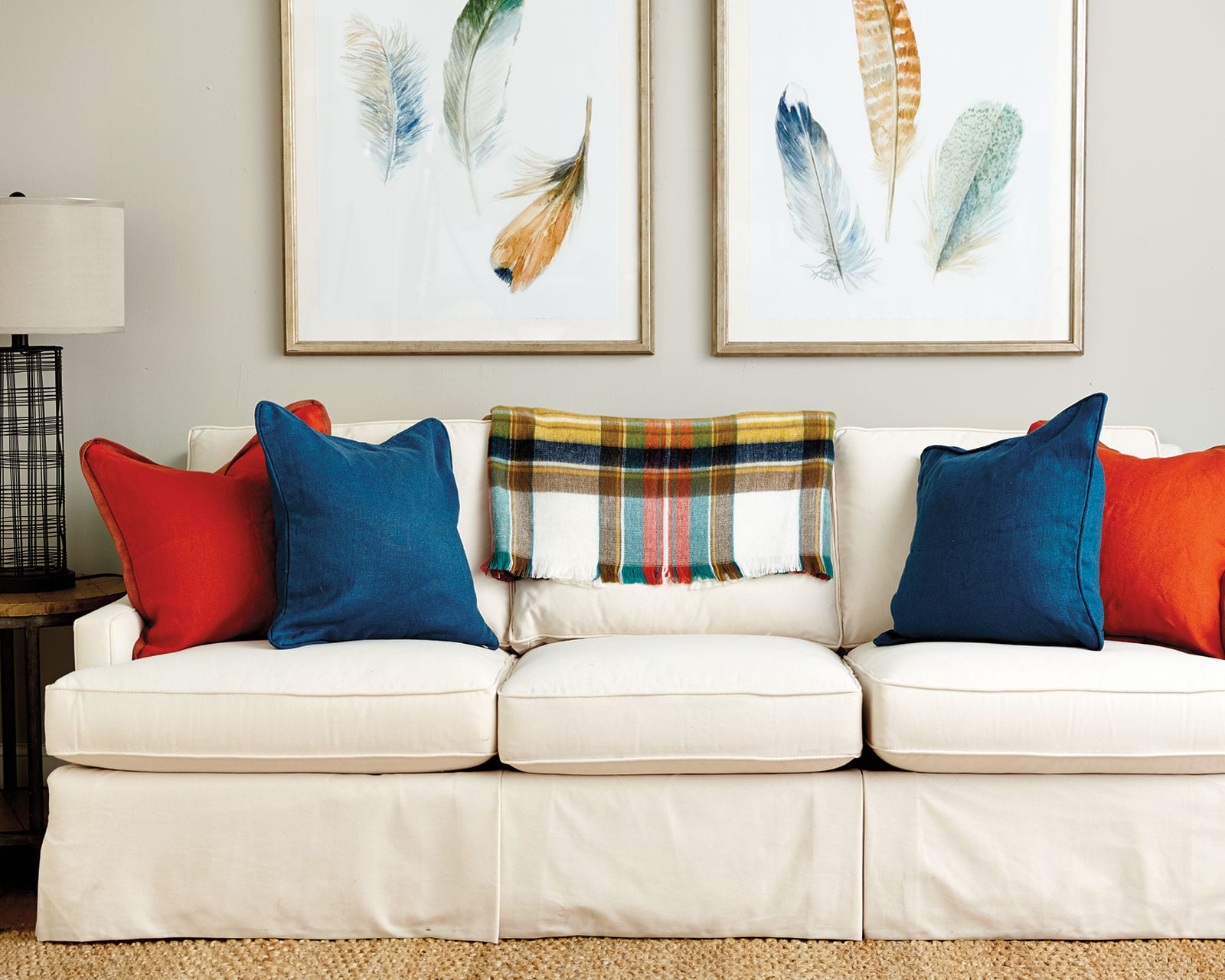 Add Solid-colored pillows