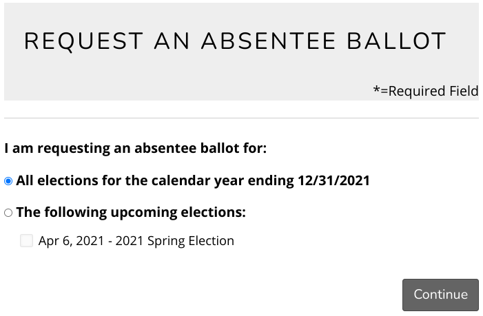 absentee ballot request