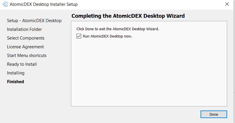 Install AtomicDEX 8