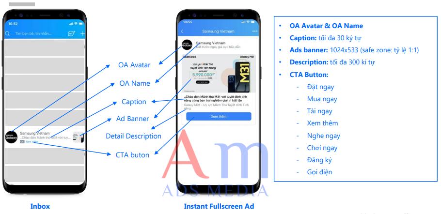 Hình thức Inbox Ads Zalo hiển thị như thế nào?