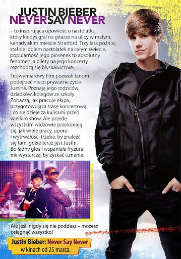 Tył ulotki filmu 'Justin Bieber: Never Say Never'