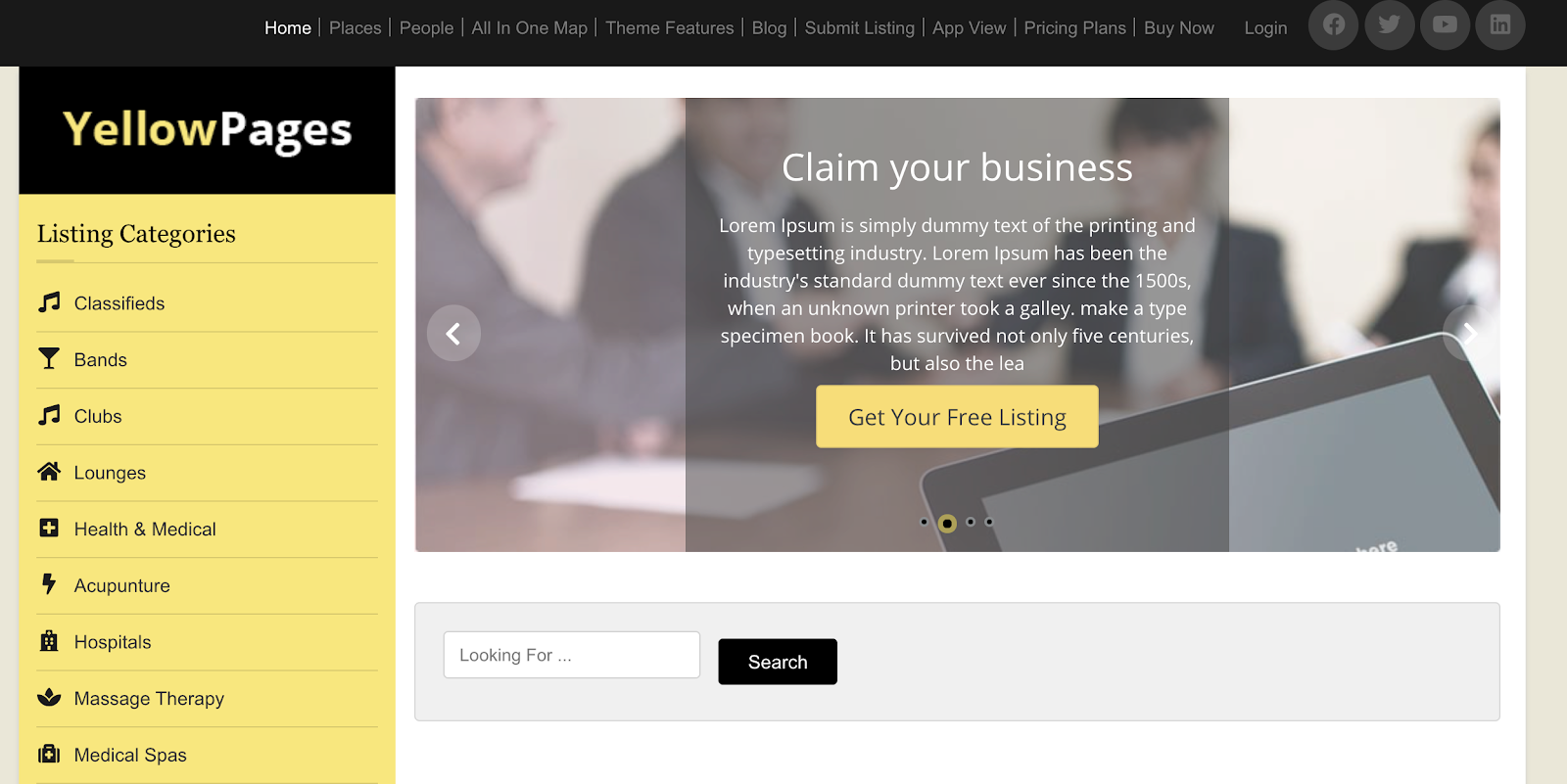 yellowpages directory theme search page demo