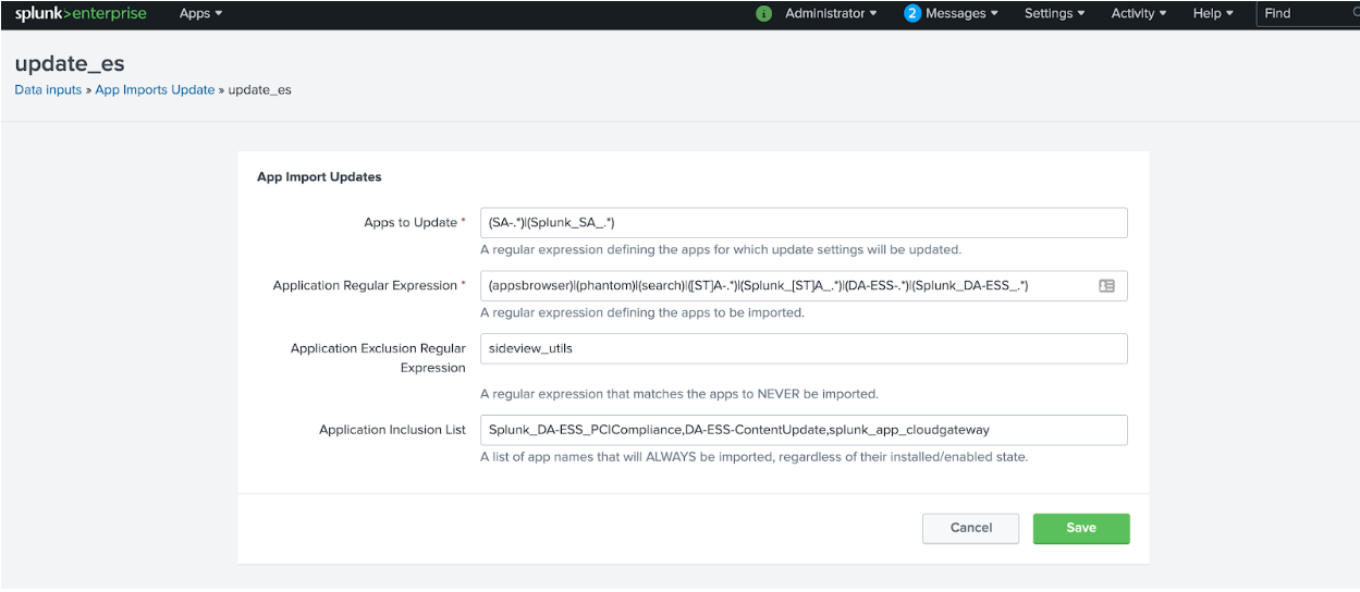 Screenshot of Splunk Enterprise Security that shows where you can add the Splunk Cloud Gateway app to the Application Inclusion list.