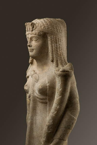 Image of a Statue of a Ptolemaic Queen, perhaps Cleopatra VII, 200-30 BC (dolomitic limestone), Egyptian Ptolemaic Period (332-30 BC) / Egyptian, Metropolitan Museum of Art, New York, USA, 62.5x22x15 cms, © Bridgeman Images