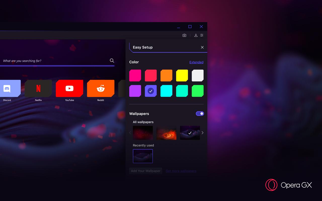 Opera GX персонализация цветов
