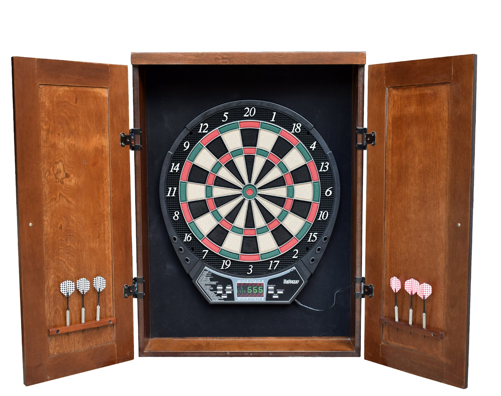An electronic dart board with a cabinet included