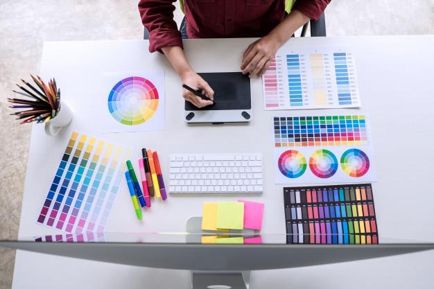 mobile game ui design - laptop - design pad - colors - color pencils