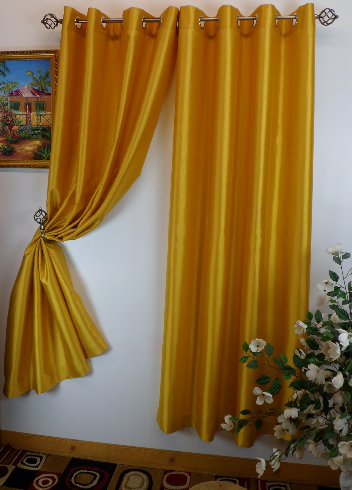 chelsea 56 x 84 faux silk window curtain with 8 grommets rust